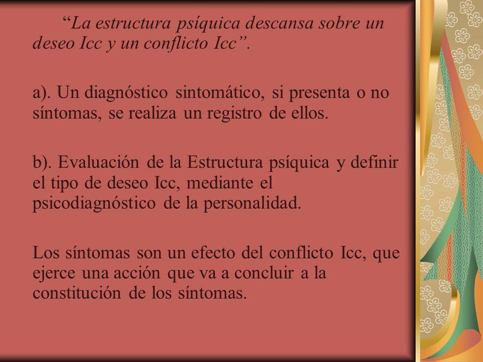 La estructura psíquica descansa sobre un deseo Icc y un conflicto Icc. a). Un diagnóstico sintomático, si presenta o no síntomas, se realiza un regist