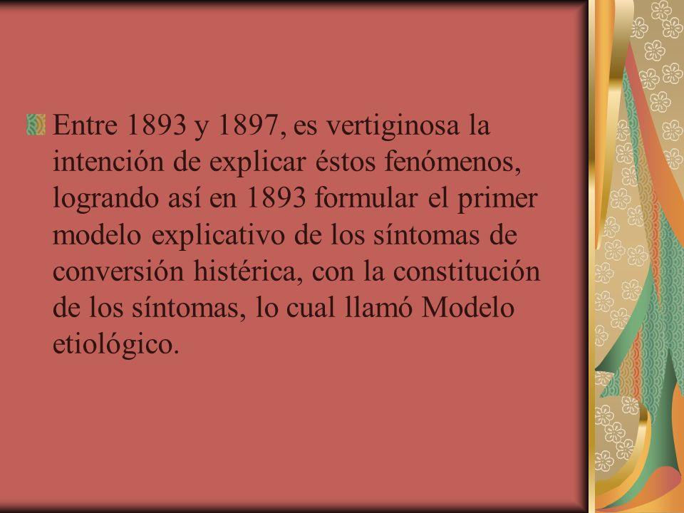 Entre 1893 y 1897, es vertiginosa la intención de explicar éstos fenómenos, logrando así en 1893 formular el primer modelo explicativo de los síntomas