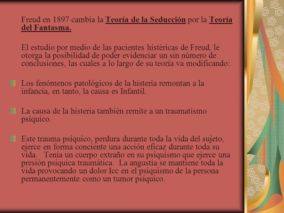 Freud en 1897 cambia la Teoría de la Seducción por la Teoría del Fantasma. El estudio por medio de las pacientes histéricas de Freud, le otorga la pos