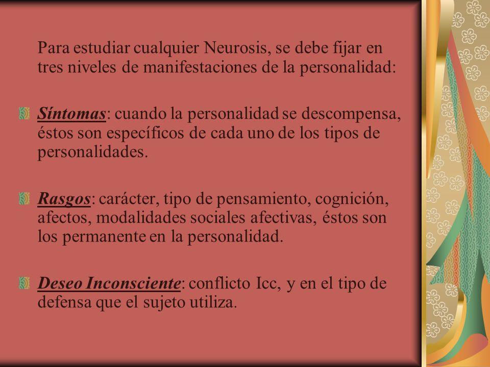Para estudiar cualquier Neurosis, se debe fijar en tres niveles de manifestaciones de la personalidad: Síntomas: cuando la personalidad se descompensa