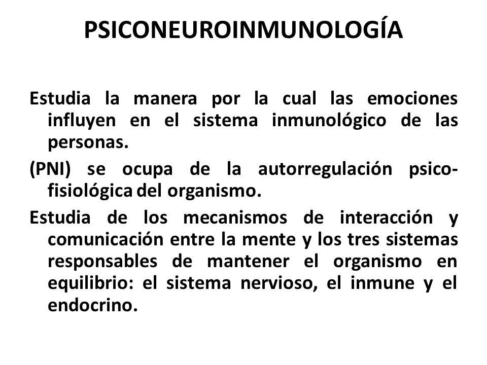 PSICONEUROINMUNOLOGÍA Estudia la manera por la cual las emociones influyen en el sistema inmunológico de las personas. (PNI) se ocupa de la autorregul