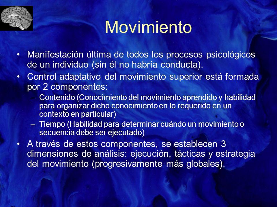 Movimiento Manifestación última de todos los procesos psicológicos de un individuo (sin él no habría conducta). Control adaptativo del movimiento supe