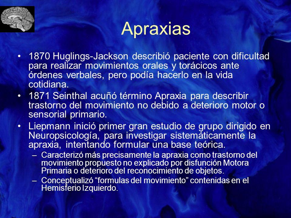 Apraxias 1870 Huglings-Jackson describió paciente con dificultad para realizar movimientos orales y torácicos ante órdenes verbales, pero podía hacerl