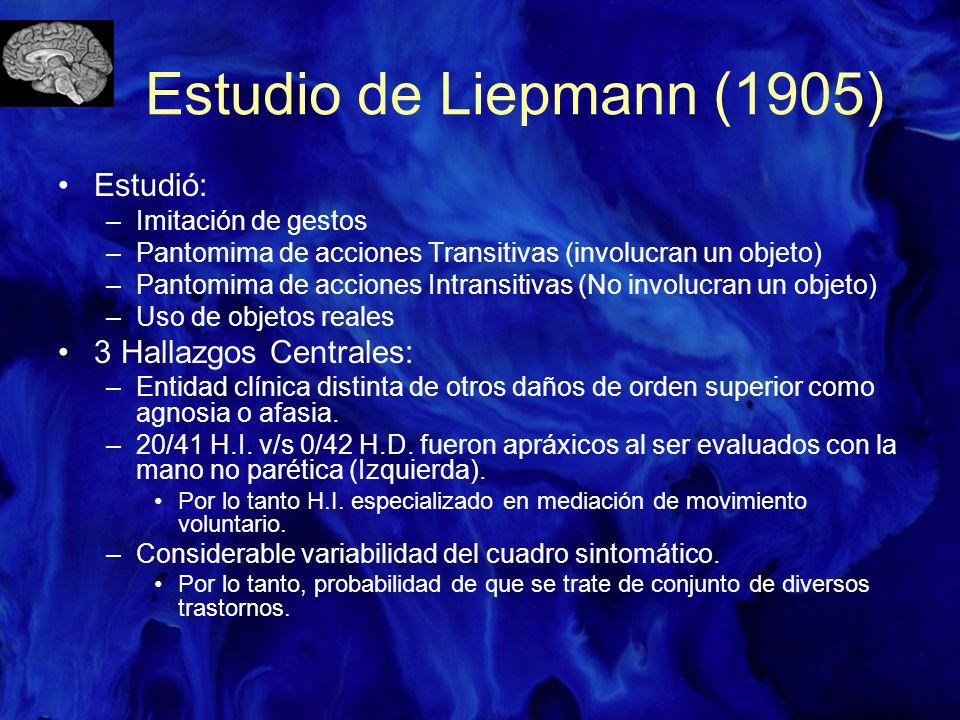 Estudio de Liepmann (1905) Estudió: –Imitación de gestos –Pantomima de acciones Transitivas (involucran un objeto) –Pantomima de acciones Intransitiva