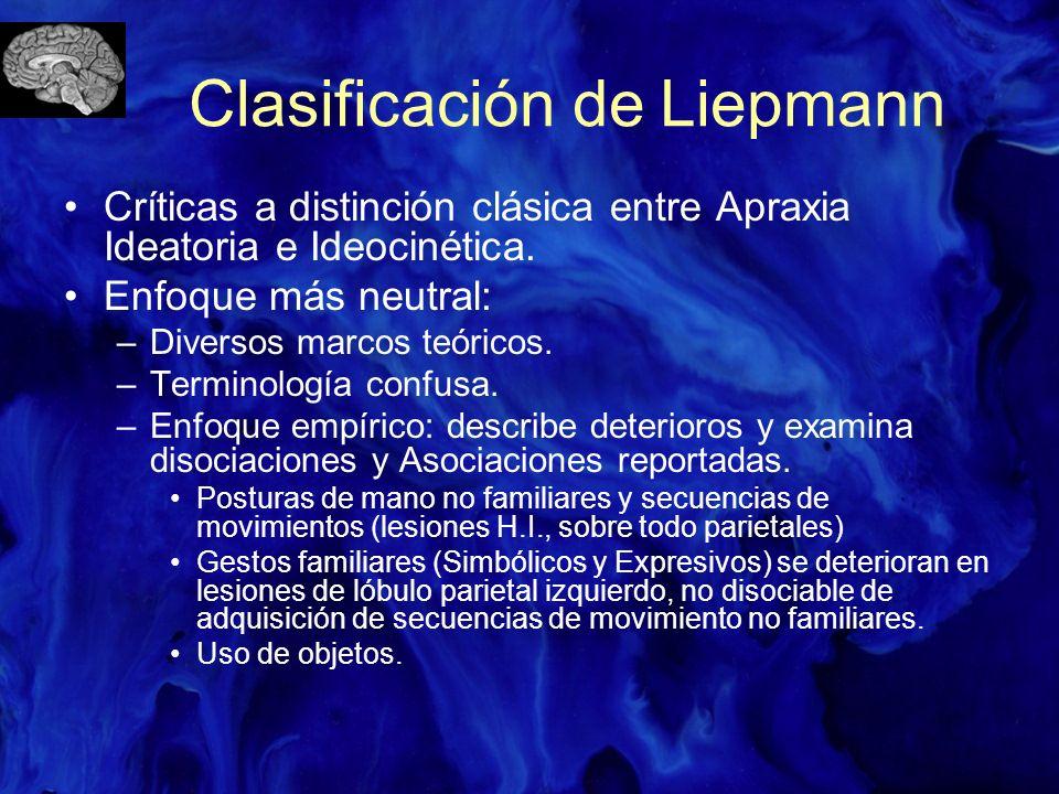 Críticas a distinción clásica entre Apraxia Ideatoria e Ideocinética. Enfoque más neutral: –Diversos marcos teóricos. –Terminología confusa. –Enfoque