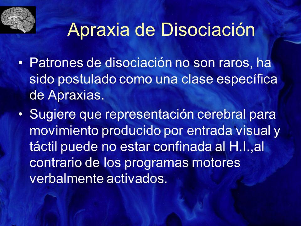 Apraxia de Disociación Patrones de disociación no son raros, ha sido postulado como una clase específica de Apraxias. Sugiere que representación cereb