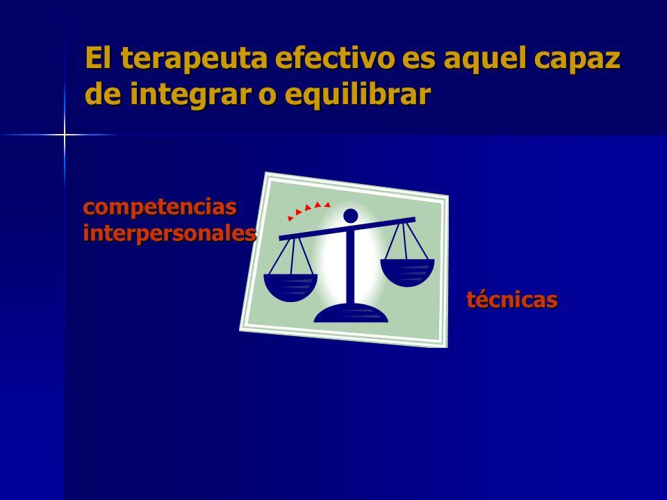 El terapeuta efectivo es aquel capaz de integrar o equilibrar competenciasinterpersonales técnicas técnicas