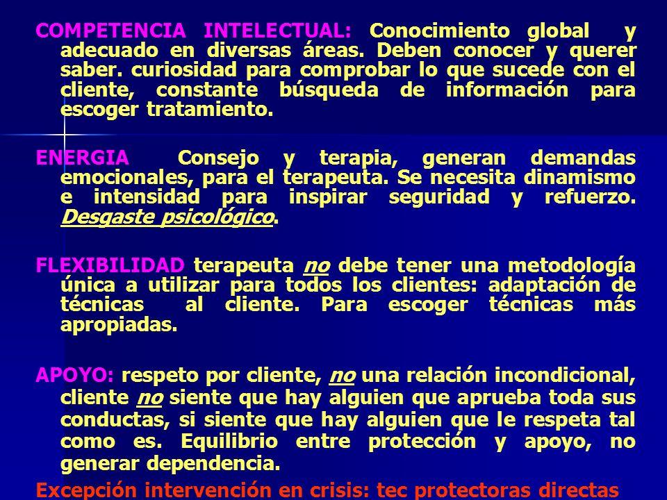 COMPETENCIA INTELECTUAL: Conocimiento global y adecuado en diversas áreas. Deben conocer y querer saber. curiosidad para comprobar lo que sucede con e