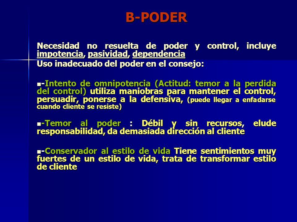 B-PODER Necesidad no resuelta de poder y control, incluye impotencia, pasividad, dependencia Uso inadecuado del poder en el consejo: -Intento de omnip