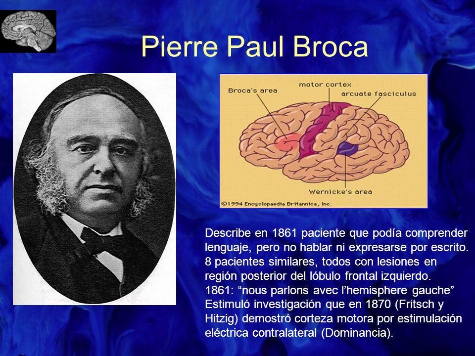 Pierre Paul Broca Describe en 1861 paciente que podía comprender lenguaje, pero no hablar ni expresarse por escrito. 8 pacientes similares, todos con