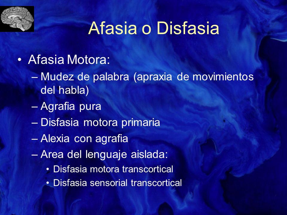 Afasia o Disfasia Afasia Motora: –Mudez de palabra (apraxia de movimientos del habla) –Agrafia pura –Disfasia motora primaria –Alexia con agrafia –Are