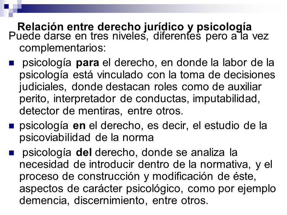 Relación entre derecho jurídico y psicología Puede darse en tres niveles, diferentes pero a la vez complementarios: psicología para el derecho, en don