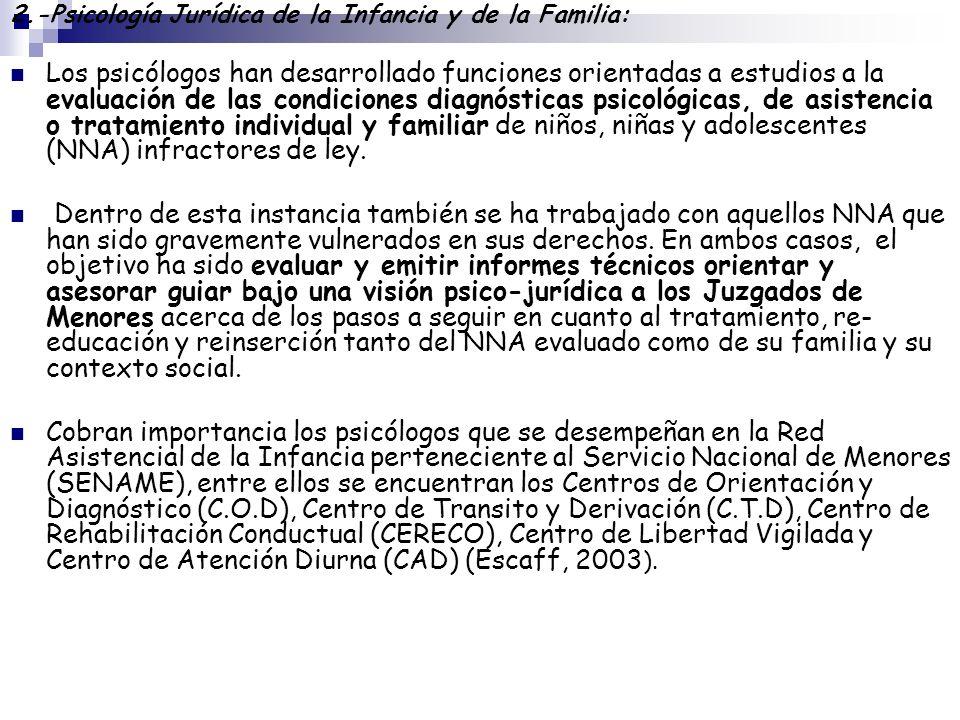 2.-Psicología Jurídica de la Infancia y de la Familia: Los psicólogos han desarrollado funciones orientadas a estudios a la evaluación de las condicio