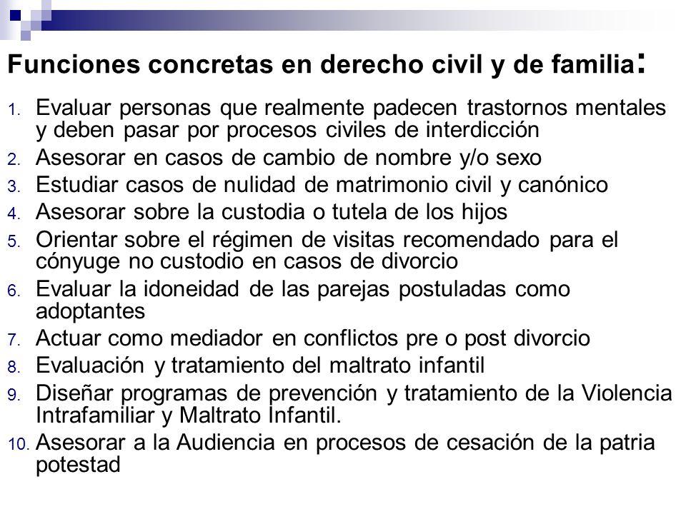 Funciones concretas en derecho civil y de familia : 1. Evaluar personas que realmente padecen trastornos mentales y deben pasar por procesos civiles d