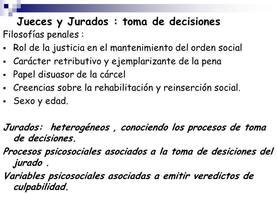 Jueces y Jurados : toma de decisiones Filosofías penales : Rol de la justicia en el mantenimiento del orden social Carácter retributivo y ejemplarizan