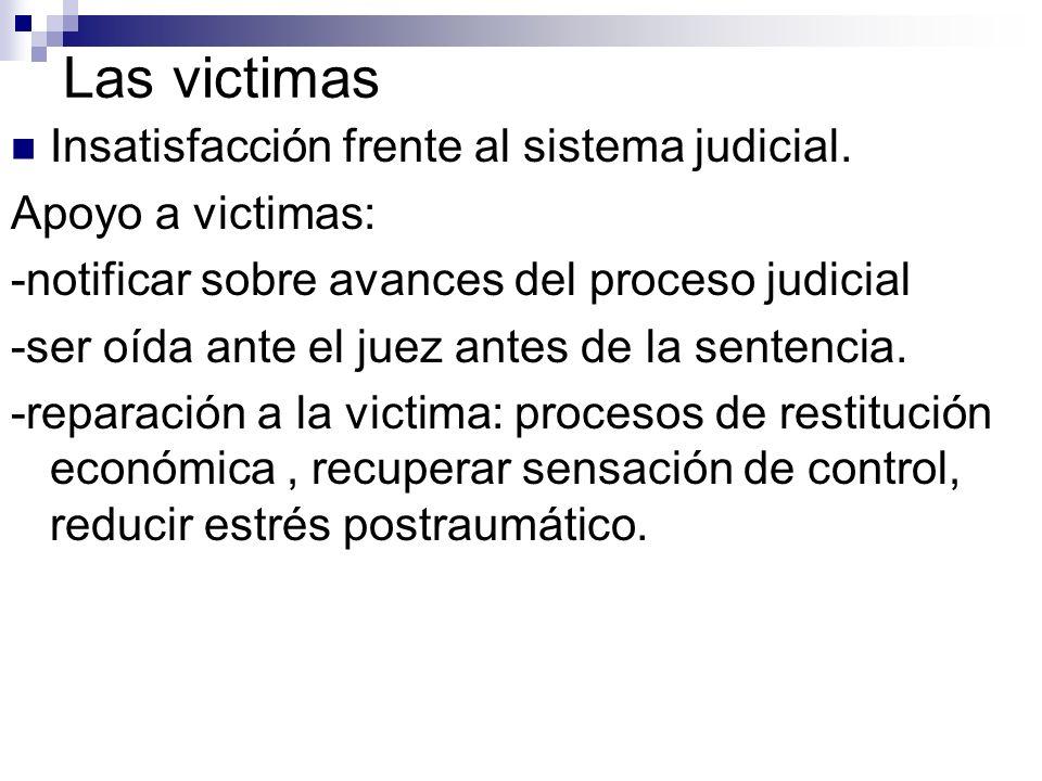 Las victimas Insatisfacción frente al sistema judicial. Apoyo a victimas: -notificar sobre avances del proceso judicial -ser oída ante el juez antes d