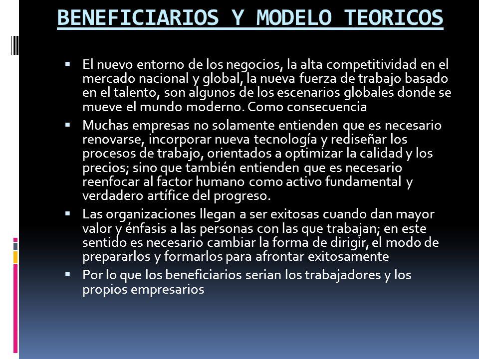 BENEFICIARIOS Y MODELO TEORICOS El nuevo entorno de los negocios, la alta competitividad en el mercado nacional y global, la nueva fuerza de trabajo b