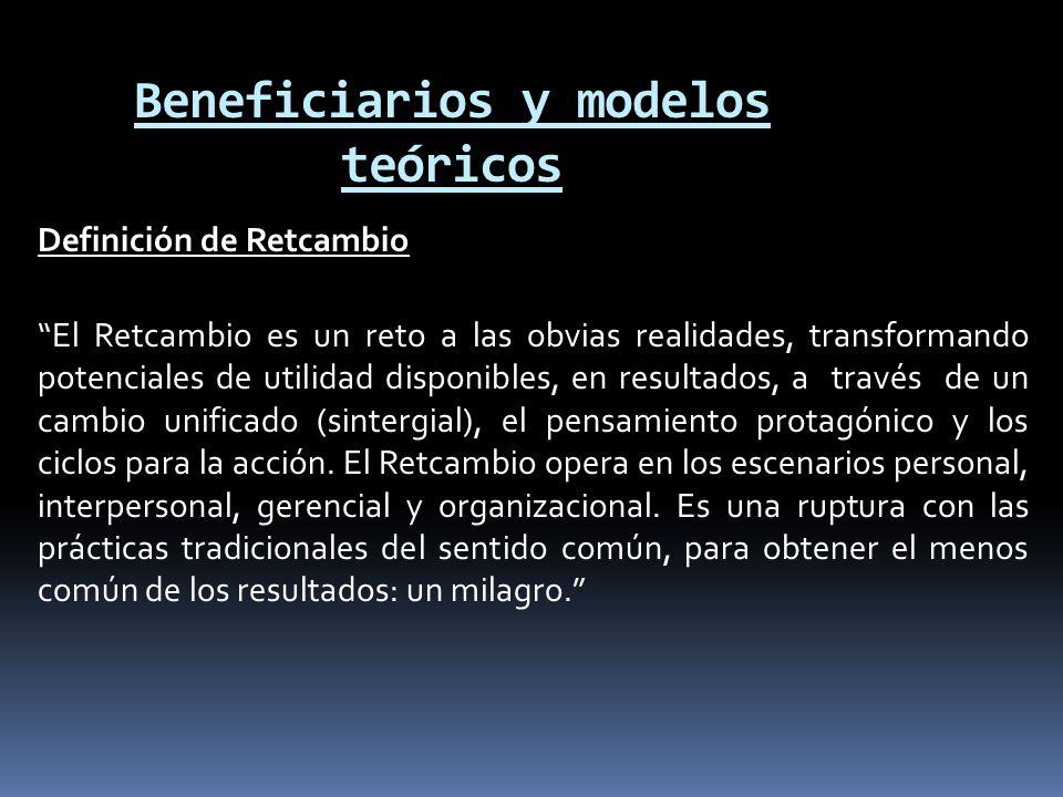 Beneficiarios y modelos teóricos Definición de Retcambio El Retcambio es un reto a las obvias realidades, transformando potenciales de utilidad dispon