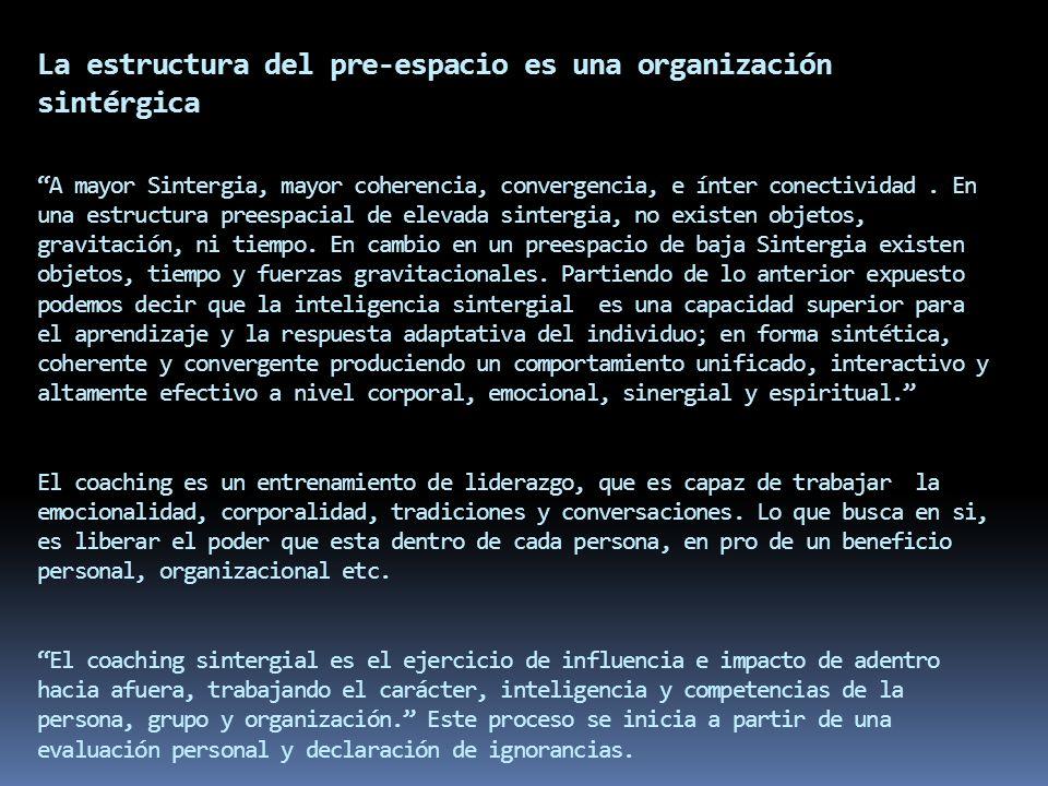 La estructura del pre-espacio es una organización sintérgica A mayor Sintergia, mayor coherencia, convergencia, e ínter conectividad. En una estructur