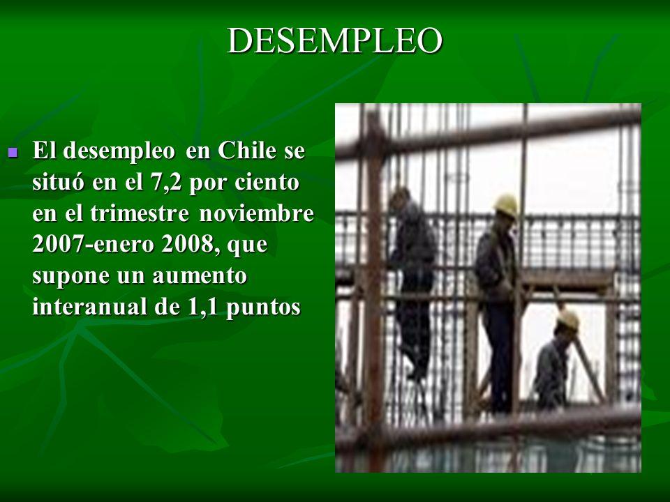 DESEMPLEO El desempleo en Chile se situó en el 7,2 por ciento en el trimestre noviembre 2007-enero 2008, que supone un aumento interanual de 1,1 punto