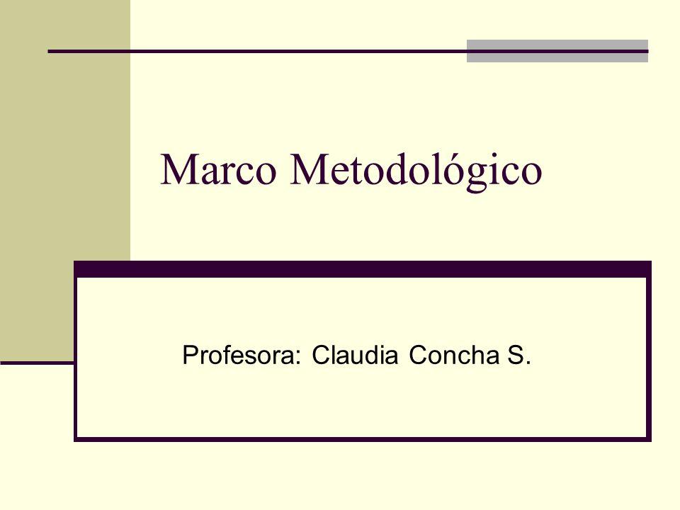 Marco Metodológico Profesora: Claudia Concha S.