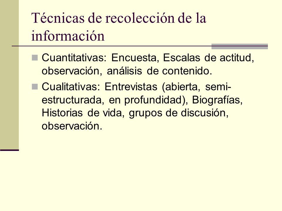 Técnicas de recolección de la información Cuantitativas: Encuesta, Escalas de actitud, observación, análisis de contenido. Cualitativas: Entrevistas (