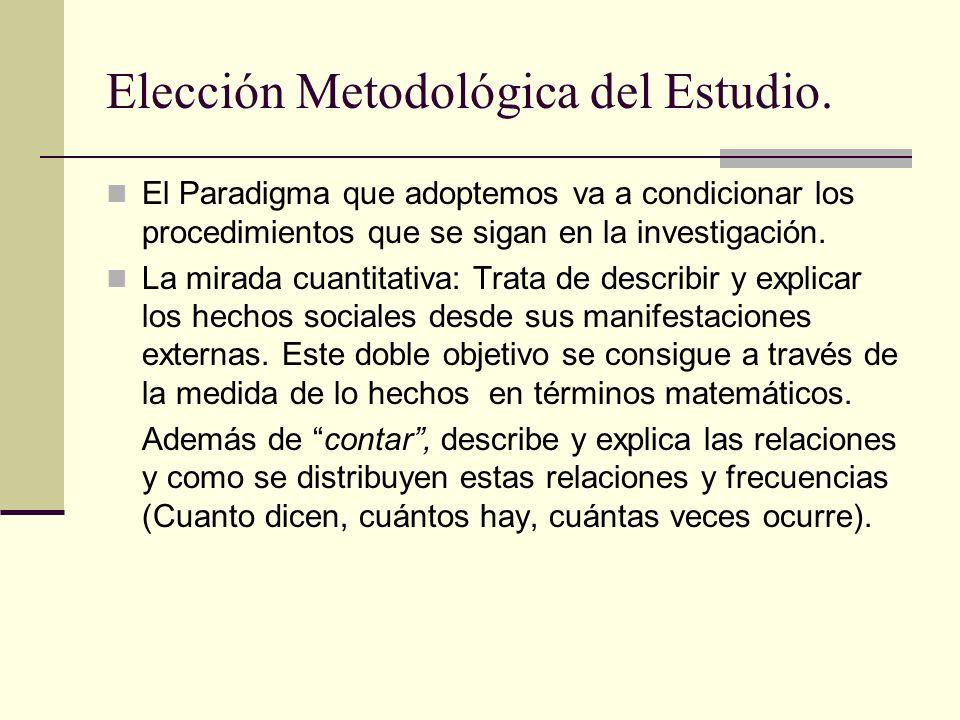 Elección Metodológica del Estudio. El Paradigma que adoptemos va a condicionar los procedimientos que se sigan en la investigación. La mirada cuantita