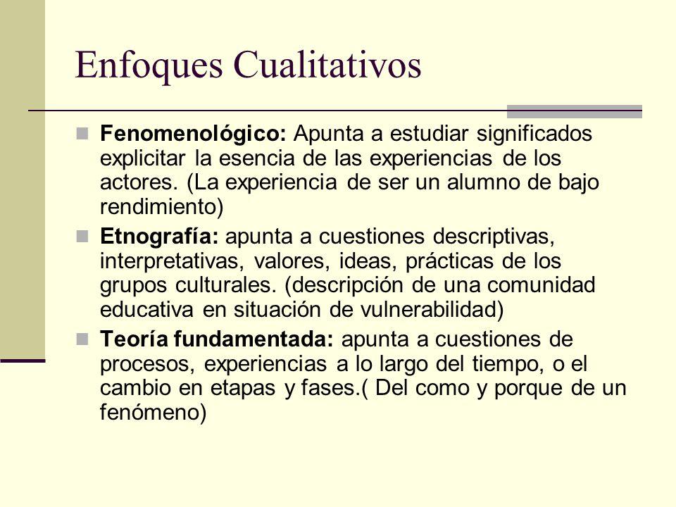 Enfoques Cualitativos Fenomenológico: Apunta a estudiar significados explicitar la esencia de las experiencias de los actores. (La experiencia de ser
