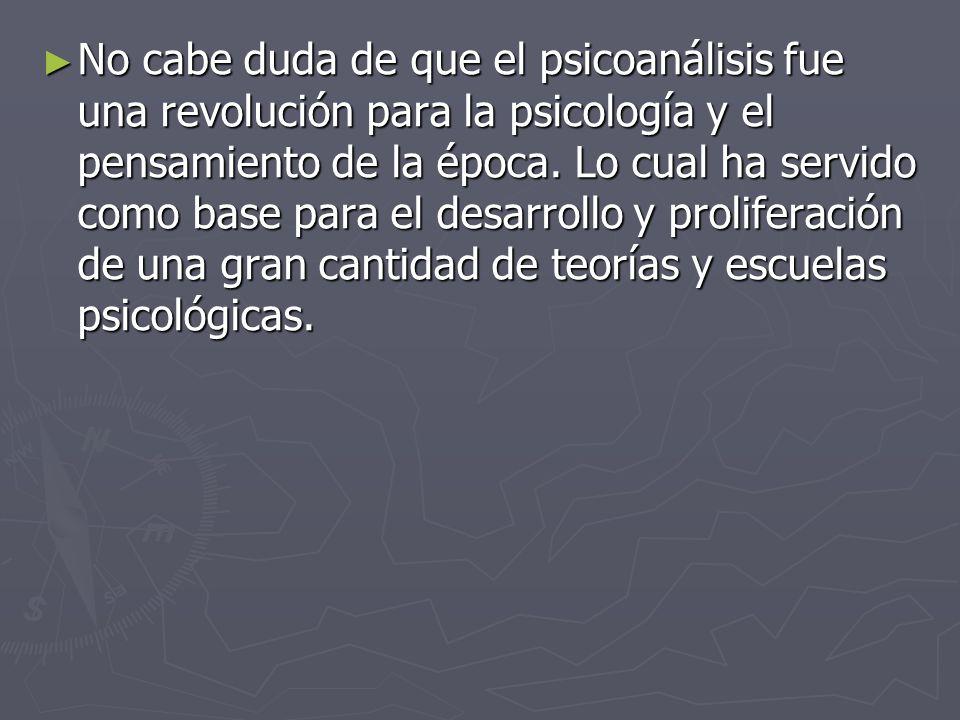 No cabe duda de que el psicoanálisis fue una revolución para la psicología y el pensamiento de la época. Lo cual ha servido como base para el desarrol