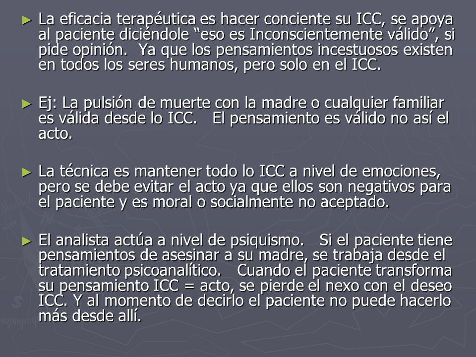 La eficacia terapéutica es hacer conciente su ICC, se apoya al paciente diciéndole eso es Inconscientemente válido, si pide opinión. Ya que los pensam