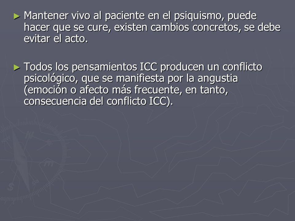 Mantener vivo al paciente en el psiquismo, puede hacer que se cure, existen cambios concretos, se debe evitar el acto. Mantener vivo al paciente en el