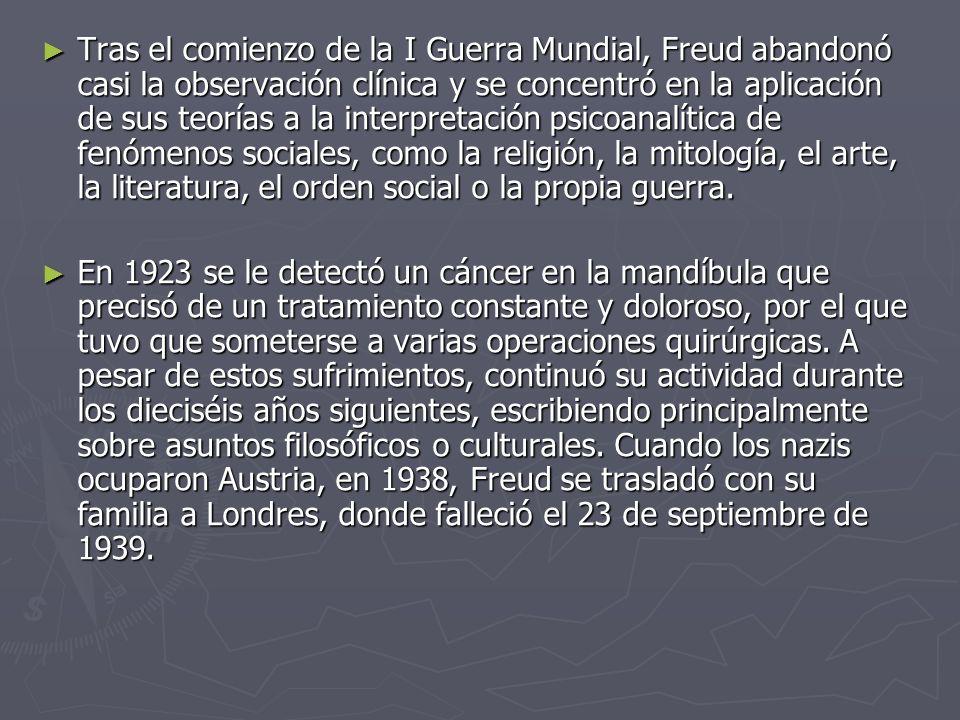 Tras el comienzo de la I Guerra Mundial, Freud abandonó casi la observación clínica y se concentró en la aplicación de sus teorías a la interpretación