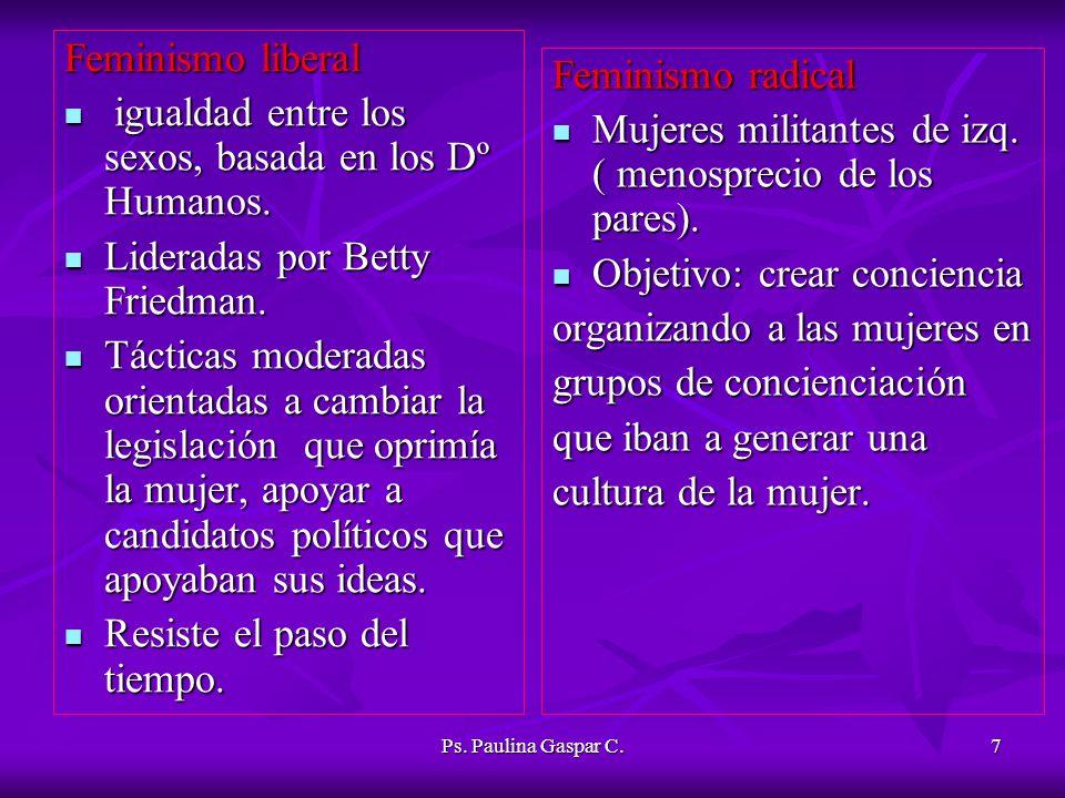 Ps. Paulina Gaspar C.7 Feminismo liberal igualdad entre los sexos, basada en los Dº Humanos. igualdad entre los sexos, basada en los Dº Humanos. Lider