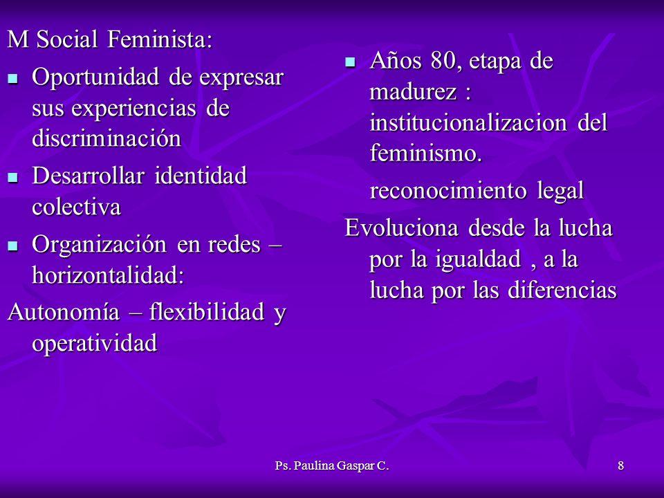 Ps. Paulina Gaspar C.8 M Social Feminista: Oportunidad de expresar sus experiencias de discriminación Oportunidad de expresar sus experiencias de disc