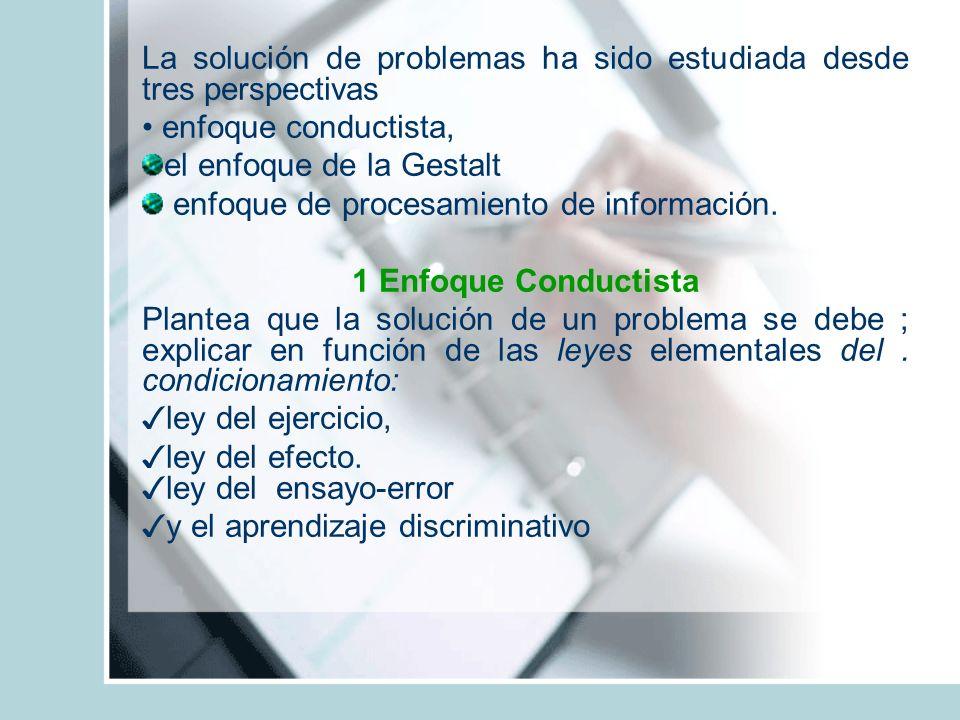 La solución de problemas ha sido estudiada desde tres perspectivas enfoque conductista, el enfoque de la Gestalt enfoque de procesamiento de informaci