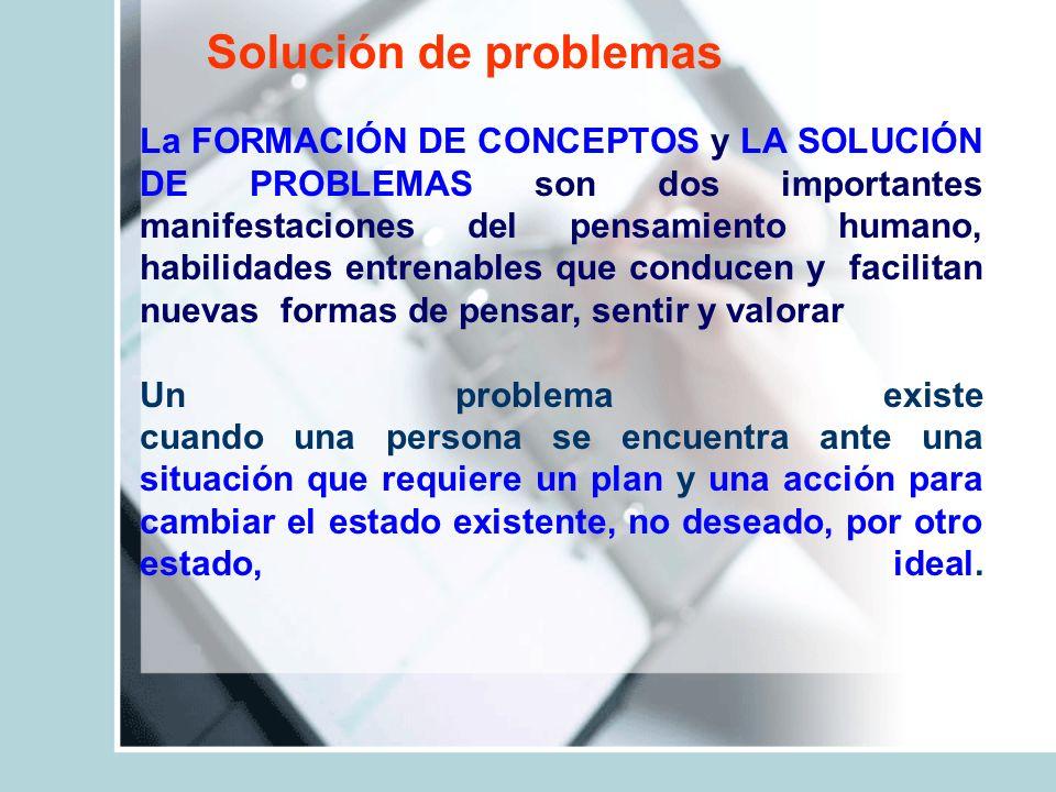 Solución de problemas La FORMACIÓN DE CONCEPTOS y LA SOLUCIÓN DE PROBLEMAS son dos importantes manifestaciones del pensamiento humano, habilidades ent