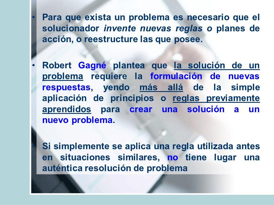Para que exista un problema es necesario que el solucionador invente nuevas reglas o planes de acción, o reestructure las que posee. Robert Gagné plan