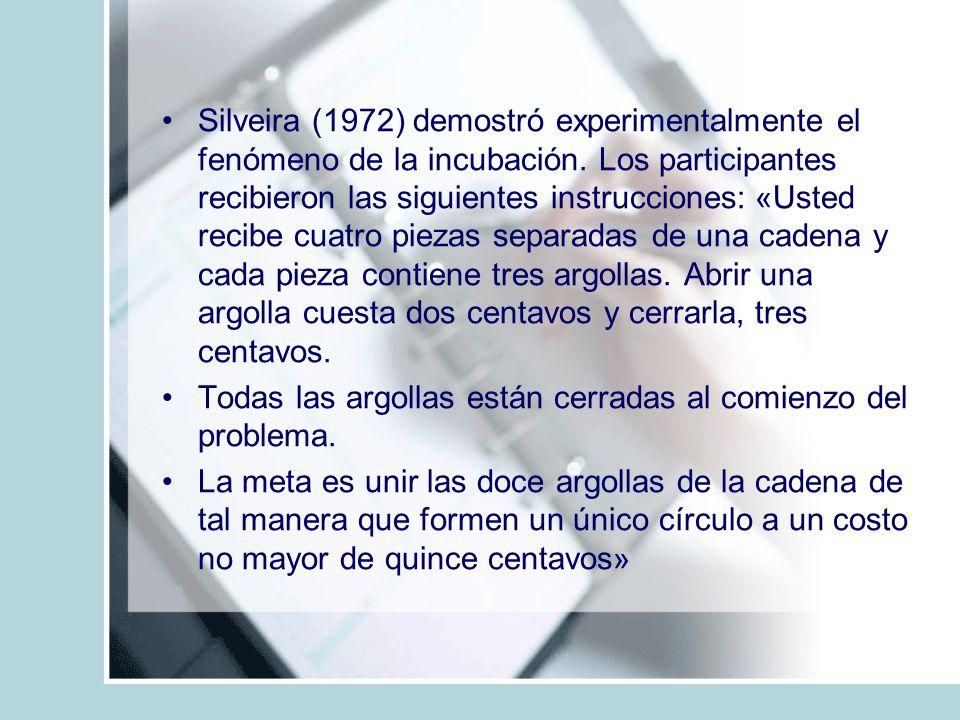 Silveira (1972) demostró experimentalmente el fenómeno de la incubación. Los participantes recibieron las siguientes instrucciones: «Usted recibe cuat