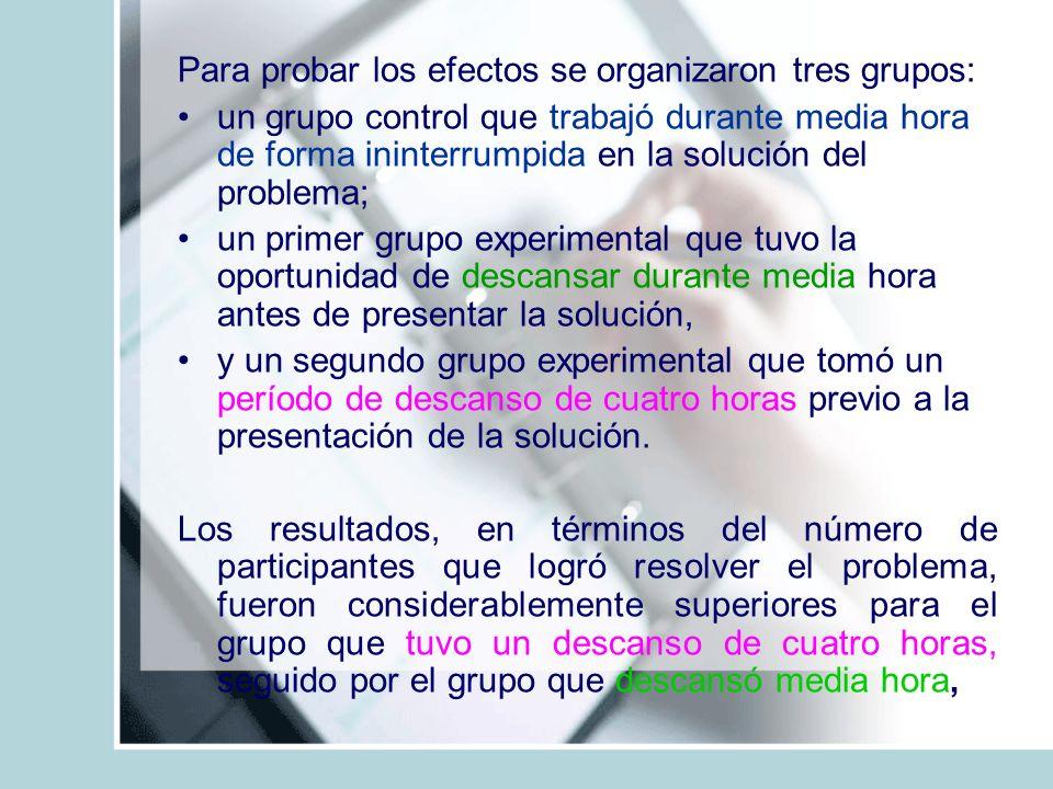 Para probar los efectos se organizaron tres grupos: un grupo control que trabajó durante media hora de forma ininterrumpida en la solución del problem