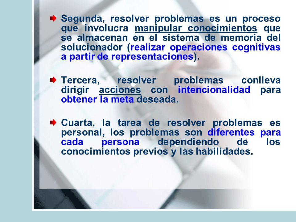 Segunda, resolver problemas es un proceso que involucra manipular conocimientos que se almacenan en el sistema de memoria del solucionador (realizar o
