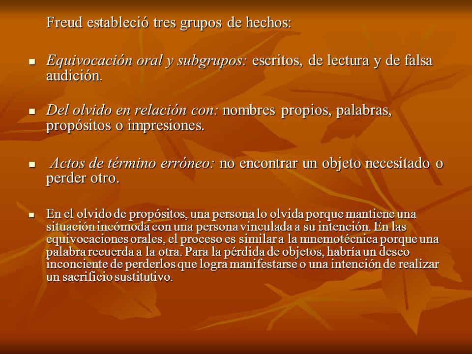 Freud estableció tres grupos de hechos: Equivocación oral y subgrupos: escritos, de lectura y de falsa audición. Equivocación oral y subgrupos: escrit