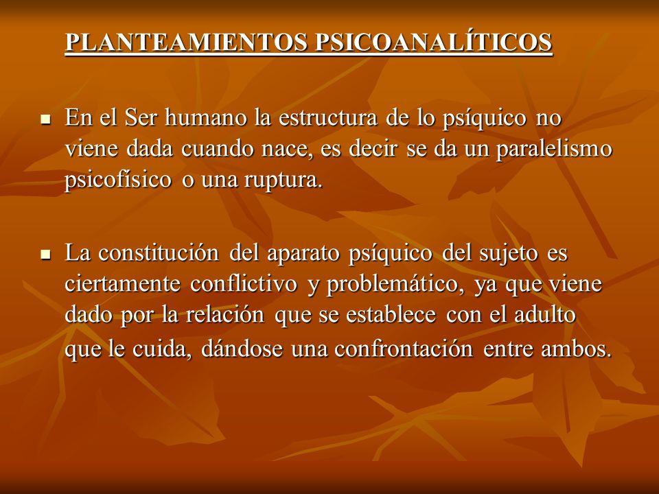 PLANTEAMIENTOS PSICOANALÍTICOS En el Ser humano la estructura de lo psíquico no viene dada cuando nace, es decir se da un paralelismo psicofísico o un