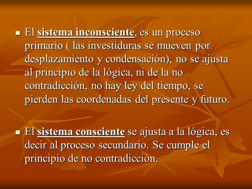El sistema inconsciente, es un proceso primario ( las investiduras se mueven por desplazamiento y condensación), no se ajusta al principio de la lógic
