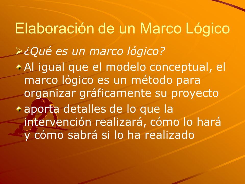 Elaboración de un Marco Lógico ¿Qué es un marco lógico? Al igual que el modelo conceptual, el marco lógico es un método para organizar gráficamente su