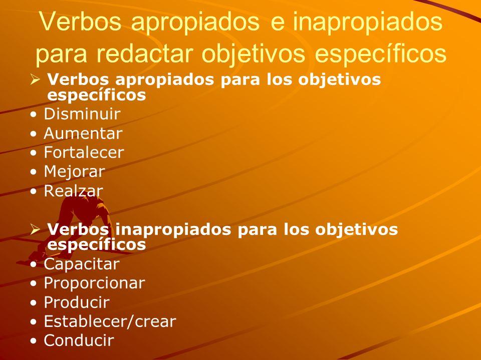 Verbos apropiados e inapropiados para redactar objetivos específicos Verbos apropiados para los objetivos específicos Disminuir Aumentar Fortalecer Me