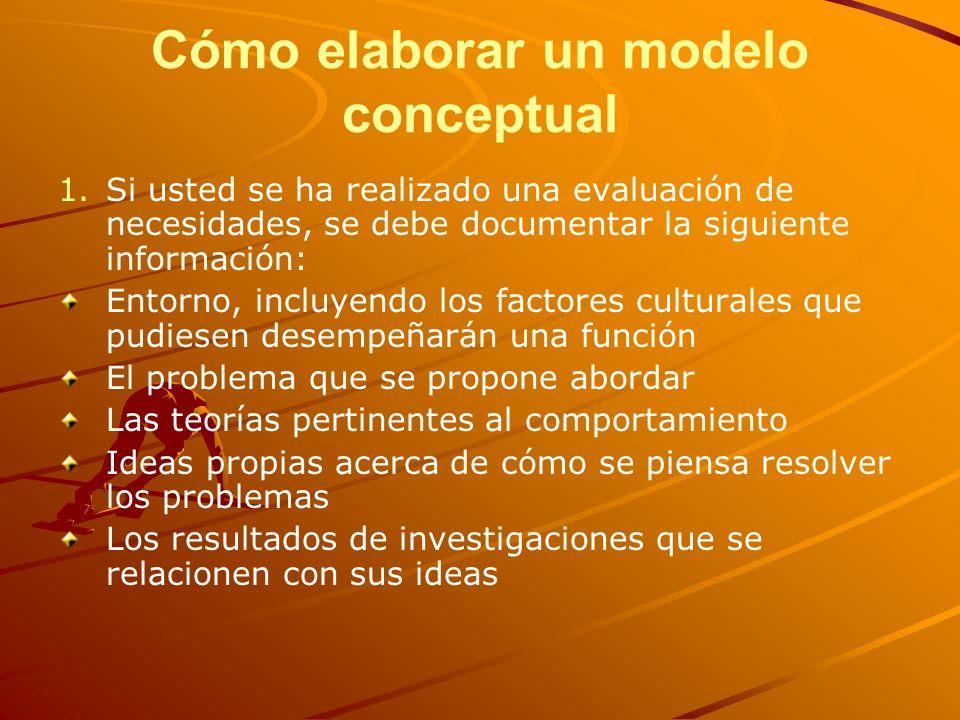 Cómo elaborar un modelo conceptual 1. 1.Si usted se ha realizado una evaluación de necesidades, se debe documentar la siguiente información: Entorno,