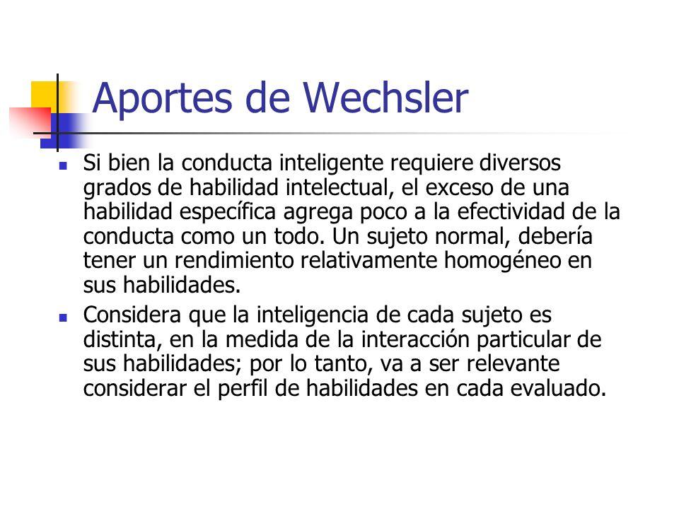 Aportes de Wechsler Si bien la conducta inteligente requiere diversos grados de habilidad intelectual, el exceso de una habilidad específica agrega po