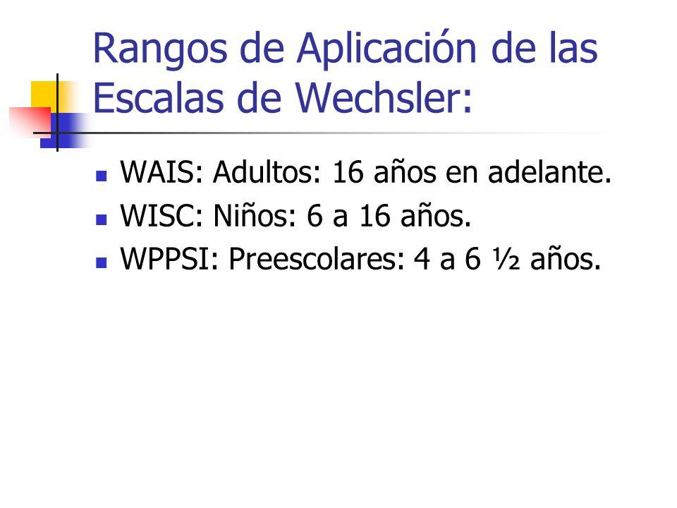 Rangos de Aplicación de las Escalas de Wechsler: WAIS: Adultos: 16 años en adelante. WISC: Niños: 6 a 16 años. WPPSI: Preescolares: 4 a 6 ½ años.