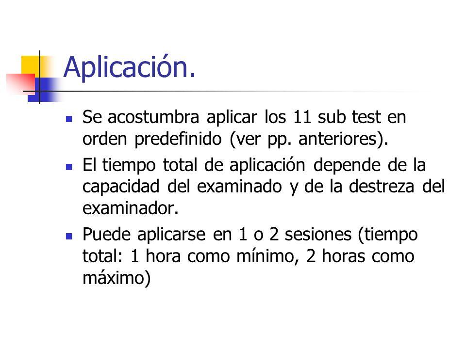 Aplicación. Se acostumbra aplicar los 11 sub test en orden predefinido (ver pp. anteriores). El tiempo total de aplicación depende de la capacidad del