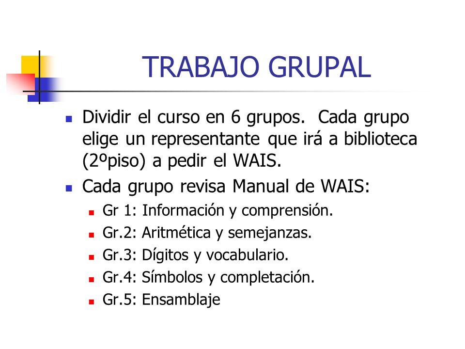 TRABAJO GRUPAL Dividir el curso en 6 grupos. Cada grupo elige un representante que irá a biblioteca (2ºpiso) a pedir el WAIS. Cada grupo revisa Manual
